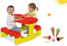 Szett gyerek asztalka Piknik Smoby tárolóhellyel és fagylalt tölcsérben 2 éves kortól
