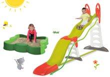Set detská šmykľavka Toboggan Super Megagliss 2v1 Smoby a pieskovisko štvorlístok Vario BIG s plachtou