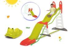 Komplet tobogan Toboggan Super Megagliss 2v1 Smoby in zelena gugalnica za na tla Maček z ušeski