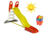 Set detská šmykľavka Toboggan XL Smoby s vodou dĺžka 2,3 m a vedro set Hrad