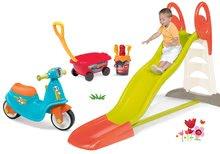 Set tobogan Toboggan KS Smoby cu apă şi babytaxiu Scooter cu roţi din cauciuc şi cărucior