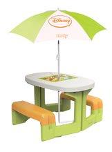 Piknik asztal gyerekeknek Micimackó Smoby napernyővel 2 éves kortól zöld