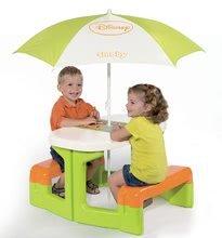 Detský záhradný nábytok - Piknikový stôl Macko Pú Smoby so slnečníkom zelený od 24 mes_0