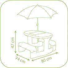 Detský záhradný nábytok - Piknikový stôl Macko Pú Smoby so slnečníkom zelený od 24 mes_2
