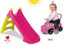 Set tobogan Smoby XS cu lungime de 90 cm și babytaxiu Minnie Auto 2in1 de la 24 luni