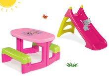 Szett asztal Minnie Piknik Smoby két paddal és csúszda Minnie Toboggan XS hossza 90 cm 24 hó-tól