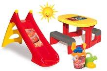 Detský záhradný nábytok sety - Set stôl Autá Piknik Smoby a šmykľavka Autá Toboggan XS dĺžka 90 cm s vedro setom Autá od 24 mes_12