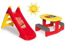 Detský záhradný nábytok sety - Set stôl Autá Piknik Smoby s dvoma lavicami a šmykľavka Autá Toboggan XS dĺžka 90 cm od 24 mes_11