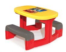 Detský záhradný nábytok sety - Set stôl Autá Piknik Smoby s dvoma lavicami a šmykľavka Autá Toboggan XS dĺžka 90 cm od 24 mes_0
