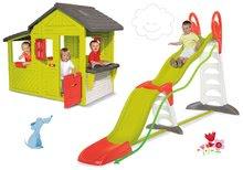 Set detský domček Maison Neo Floralie Smoby a šmykľavka Toboggan Super Megagliss 2v1