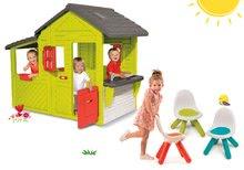 Szett házikó Kertész Neo Floralie Smoby konyhácskával és 3 kisszék KidChair