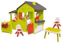 Házikó Kertész Neo Floralie Smoby csengővel, kéménnyel és előkert asztallal és két kisszékkel