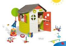 Smoby 310263-15 set domček Jura Lodge s dvoma dverami, striekací vodný klaun a 7 športových hier od 2 rokov