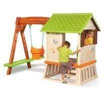 Căsuțe de grădină pentru copii  - Căsuță Winnie the Pooh cu leagăn Smoby și tobogan cu filtru UV de la 24 luni_0