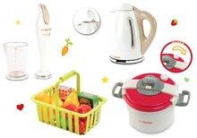 Set jucărie Mini Tefal oală sub presiune, mixer vertical Tefal, fierbător de apă Tefal şi coş mic de fructe