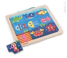 Drevené magnetické puzzle Happy Fish Magneto Janod od 18 mesiacov 9 dielikov