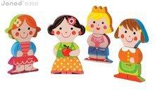Puzzle pre najmenších - Drevené magnetické figúrky Dolls Funny Magnet Janod 4 ks od 18 mes_2