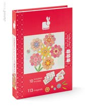Magnetky pre deti - Magnetická kniha Mosaic Flowers Magneti'Book Janod 5 kariet od 6 rokov_0