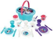 Coş de picnic cu set de veselă Regatul de gheaţă Smoby cu sclipici cu 24 de accesorii