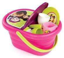 Coş picnic cu set de veselă Masha Smoby roz cu 21 de accesorii 26*13*19 cm
