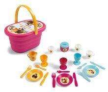 Smoby piknikový košík s obedovou súpravou Máša a medveď s 21 doplnkami ružový 310582