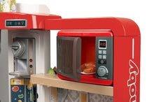 Elektronické kuchynky - Kuchynka rastúca s tečúcou vodou Tefal Evolutive Gourment Smoby s červenou mikrovlnkou so zvukom a svetlom_2