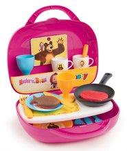 Bucătărie Masha și ursul în valiză Smoby cu alimente prăjite, cu tacâmuri și 17 accesorii