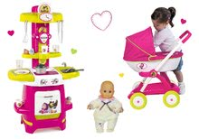 Kuchynky pre deti sety - Set kuchynka Máša a medveď Smoby hlboký kočík pre bábiku (58 cm rúčka) a bábika so šatôčkami od 18 mes_15