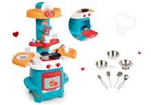 Set kuchynka pre deti Cooky Smoby tyrkysová s krídelkami a riad pochrómovaný 7 dielov