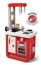 Kuchynka elektronická Bon Appetit Smoby červená, zvuková s chladničkou, kávovarom a 23 doplnkov