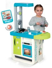 Elektronické kuchynky - Kuchynka Cherry Smoby elektronická so zvukmi, s jedálenským pultom, kávovarom a 25 doplnkami tyrkysovo-zelená_0