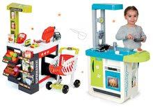 Kuchynky pre deti sety - Set kuchynka Cherry Kitchen Smoby so zvukmi a kávovarom a obchod zmiešaný tovar s pokladňou_28
