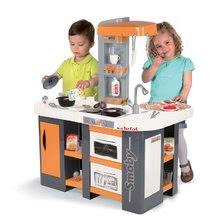 Elektronické kuchynky - Kuchynka Tefal Studio XL Smoby elektronická so zvukmi, s jedálňou a chladničkou s 36 doplnkami oranžovo-šedá_7