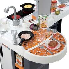 Elektronické kuchynky - Kuchynka Tefal Studio XL Smoby elektronická so zvukmi, s jedálňou a chladničkou s 36 doplnkami oranžovo-šedá_12