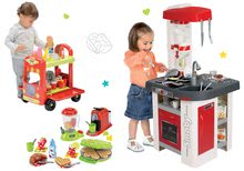 Set kuchynka elektronická so sódovkou Tefal Studio Smoby červeno-biela a vozík so zmrzlinou a hamburgermi a vaflovač