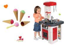 Set kuchynka elektronická so sódovkou Tefal Studio Smoby červeno-biela a zmrzlina s kornútkom ako darček