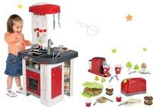 Set kuchynka elektronická so sódovkou Tefal Studio Smoby červeno-biela a hriankovač s vaflovačom a kávovarom