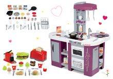 Szett játékkonyha Tefal Studio XL Smoby hanggal, mosogatóval és krómozott 7 részes edénykészlet lila