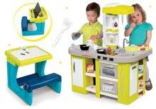 Smoby elektronická kuchynka pre deti Tefal Studio XL a školská lavica s obojstrannou tabuľou 311024-11M