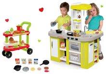 Szett játékkonyha elektronikus Tefal Studio XL Smoby kiwi hanggal és felszolgálókocsi reggelivel 100% Chef