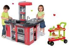 Szett játékkonyha Tefal Studio XXL Smoby elektronikus mágikus bugyogással és felszolgálókocsi 100% Chef