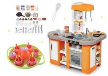 Szett játékkonyha elektronikus Tefal Studio XL Smoby mágikus bugyogással és teáskészlet 18 kiegészítővel