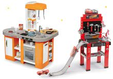 Set detská kuchynka elektronická Tefal Studio XL Smoby s magickým bublaním+pracovná dielňa Autá 3 so skákajúcou rampou 311026