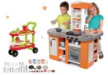 Szett játékkonyha elektronikus Tefal Studio XL Smoby mágikus bugyogással és felszolgálókocsi reggelivel 100% Chef