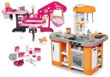 Szett játékkonyha elektronikus Tefal Studio XL Smoby mágikus bugyogással és babacenter játékbabának