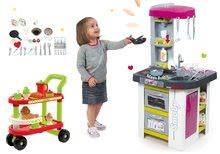 Szett szürkés-lila játékkonyha Tefal Studio Barbecue Smoby bugyogással, grillel és felszolgálókocsi reggelivel 100% Chef