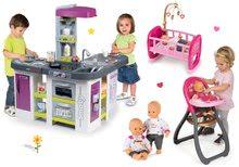 Set kuchynka elektronická Tefal Studio XXL Bubble Smoby s bublaním a jedálenská stolička s kolískou a bábikou