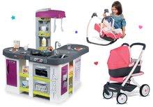 Set dječja kuhinja elektronička Tefal Studio XXL Bubble Smoby a kočík Trio Pastel Maxi Cosi&Quinny so stoličkou a hojdačkou SM311033-3