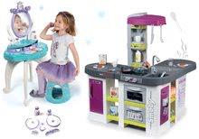 Set kuchynka elektronická Tefal Studio XXL Bubble Smoby s magickým bublaním a kozmetický stolík Frozen 2v1 so stoličkou SM311033-7
