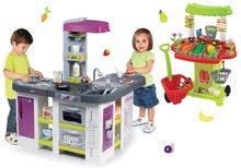 Set kuchynka elektronická Tefal Studio XXL Bubble Smoby s bublaním a zeleninový stánok s nákupným vozíkom